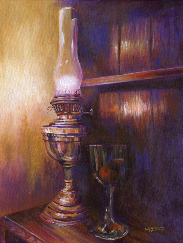 Oil Lamp Still Life Painting Original Art For Sale